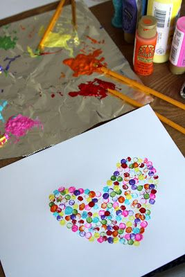 Make a heart with dipping and dotting paint.