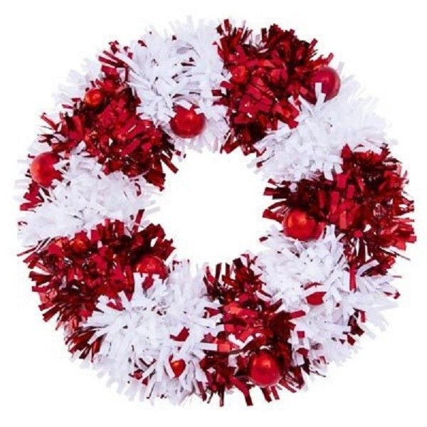 Red and White Candy Cane Striped Tinsel Christmas Holiday Wreath ~ NEW! #HolidayTime #christmas #christmasdecor