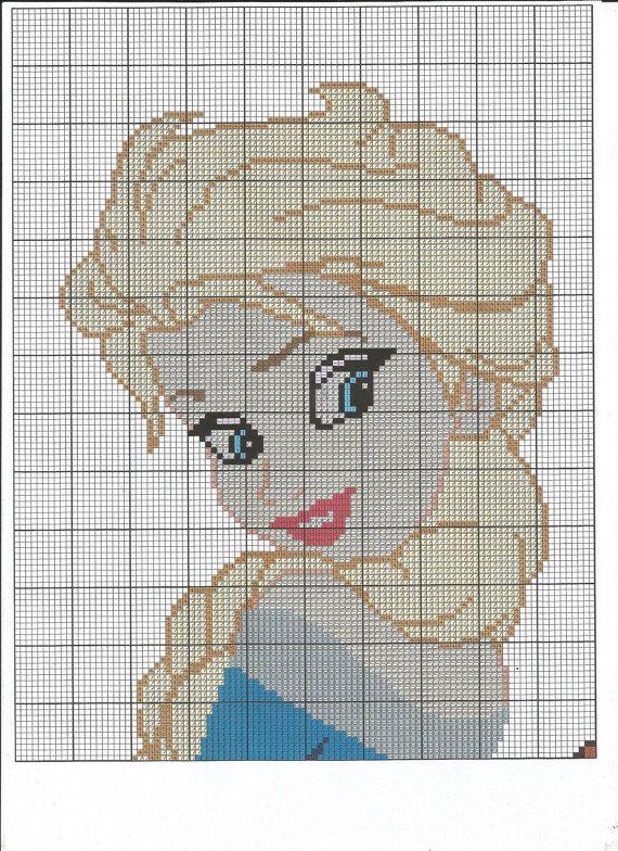 Anna & Elsa Cross Stitch Chart por LittleKissesCrafts en Etsy