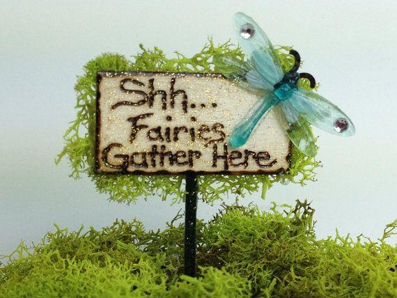 Shhh...Fairies Gather Here Fairy Garden by UnderTheElderTree3, $6.95