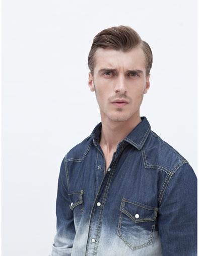bleached: Clement Chabernaud, Denim Shirts, Men Fashion, June 2012, Denim, Zara June, 2012 Lookbook, Zara Men Denim, Clement Chabernaud