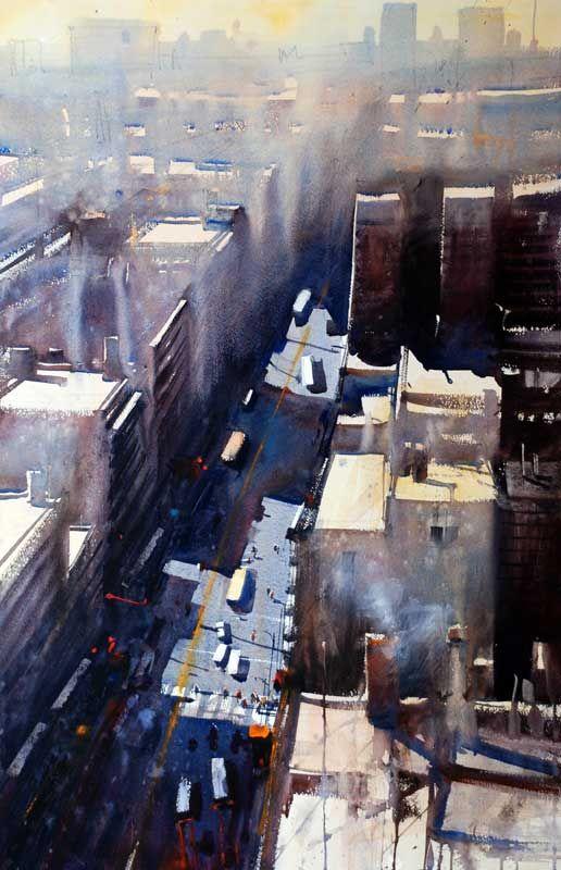 "Alvaro Castagnet (Uruguayan, born 1954)  ""Overview""  a painting of Calle 18 de Julio, downtown Montevideo  ~  watercolor"