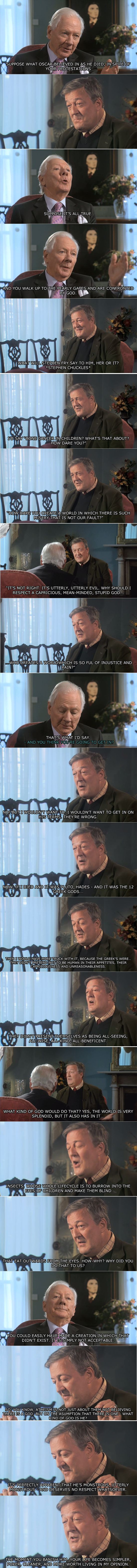 Stephen Fry on God (worth reading)