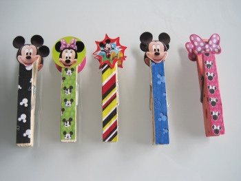 D.I.Y. Disney Clothespins..can be decorated with other theme characters for classroom clothesline