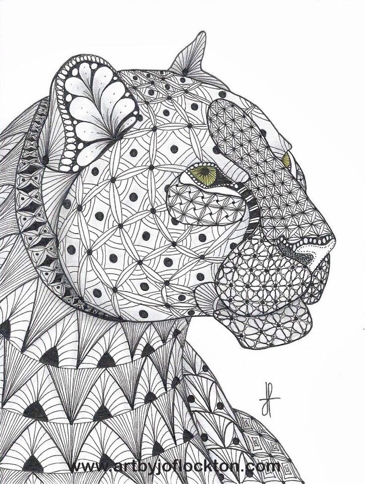 Tangled Leopard, original art, 19.25 Tangled Art by Jo