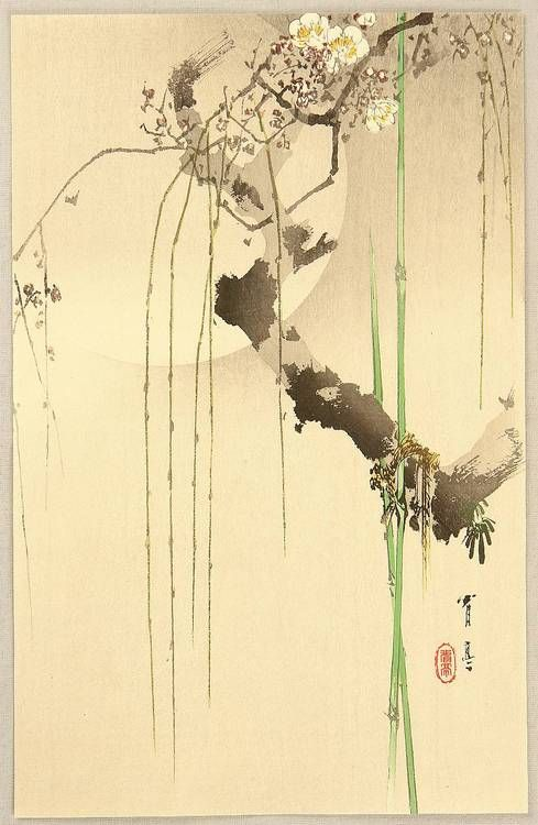 artemisdreaming:  Cherry Moon,1900-10, publisher Daikokuya  Seitei (Shotei) Watanabe  .  Does anyone know the dwelling place of the wind, scatterer of flowers? Tell me, that I may go there and deliver a complaint.  ~Sosei the monk, 10th century  translated byMichael Hoffman