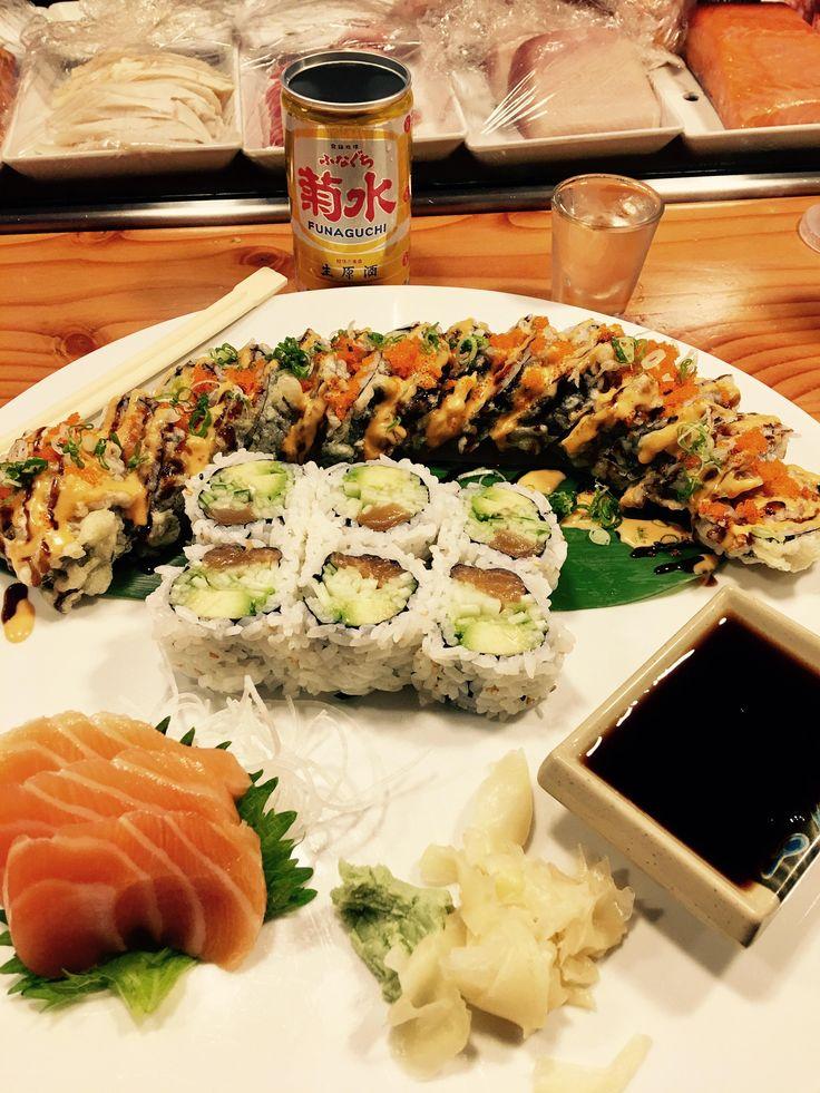 [I Ate] Godzilla roll Alaska roll and salmon sashimi. Washed down with Funaguchi sake!