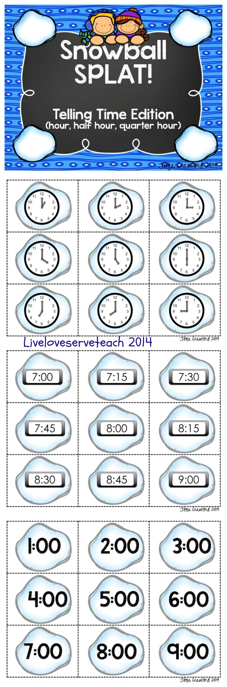 Fun and engaging game to practice time to the hour, half hour, and quarter hour. Includes analog and digital clocks.