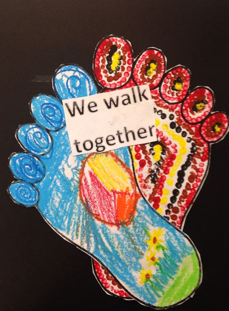 do each footprint as the two sides of Australia walking together