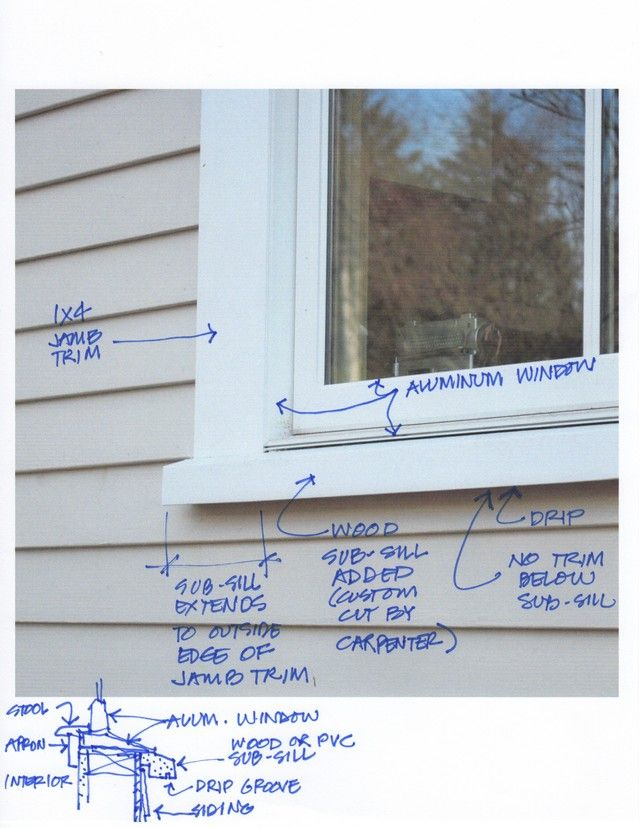 "window trimboards A traditional window has flat casing trim at the head (top) and jambs (sides) . Avoid flat trim (""picture-framing"") at the bottom since that will cause water penetration .  Often it is advisable to add a ""sub-sill"" below the window to create a proper drip. The sub-sill can be made long enough to reach the outside edges of the jamb trim allowing the jamb trim to rest on the sub-sill ."