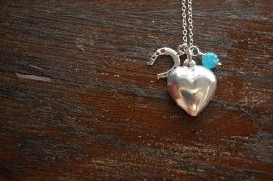 Horse shoe, puffed heart and blue quartz necklace