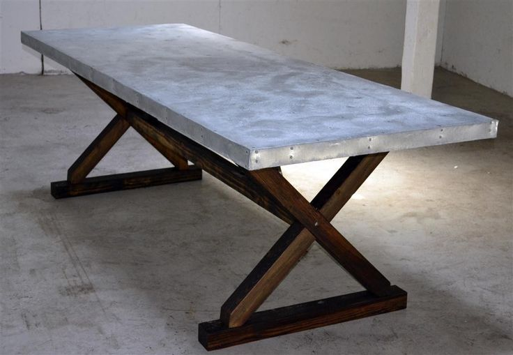 Custom Made Newtown Patio Table - Reclaimed long leaf pine, cedar and galvanized steel top.  Good idea for making my own table. Like the leg design.