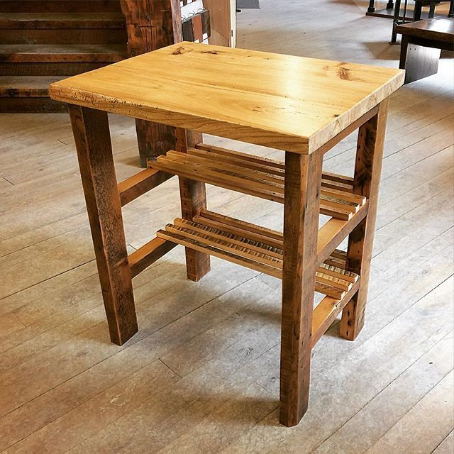 This custom island features a reclaimed Pine base and an amazing wormy Maple top. We love it! #woodworking #reclaimedwood #interiordesign #design