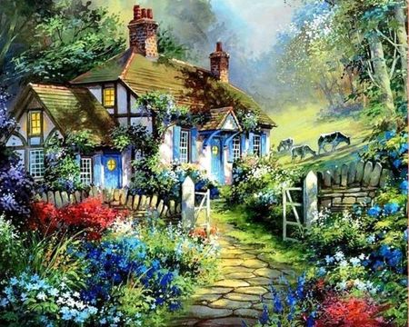 Small house in the country - art, country, cow, flowers, forest, house, nature, painting, tree: Art Gallery, Country Cottages, Gardens, Art Thomas, Kinkade Painting, Beautiful Artworks, Thomas Kinkade, Art Painting, Pretty Pictures
