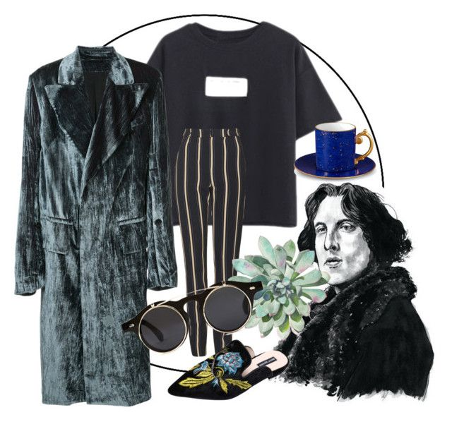 """""""oh, nothing"""" by kaupaint ❤ liked on Polyvore featuring Ann Demeulemeester, Topshop, L'Objet, Forever 21, men's fashion, menswear, trendingitem and VelvetJackets"""