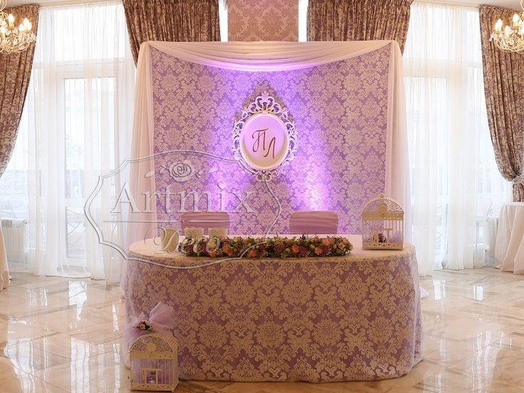 Свадебное оформление президиума во французском стиле. Украшение стола жениха и невесты в ресторане Ля Мур ... кружевная свадьба - оформление...