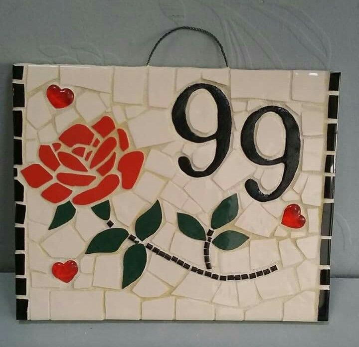 20x25 cm Mosaic House Number Rose