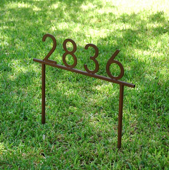 """Custom Steel Address Sign with Stakes and 5"""" House Numbers, Finished with a Rust Patina"""
