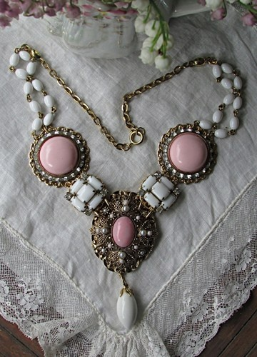 Upcyled Vintage Pink Avon Pendant and Milk Glass Statement Necklace | TimelessDesigns - Jewelry on ArtFire