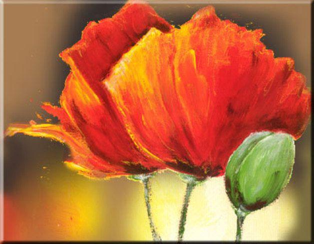 Peintures acryliques pavot xl coquelicot pi ce unique for Calculer la peinture pour une piece