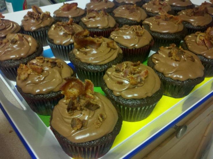 Dark Chocolate BACON cupcakes | MiLo SIX Sweet Treats