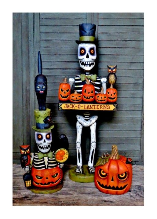~ Halloween wood carvings by Greg Guedel ~