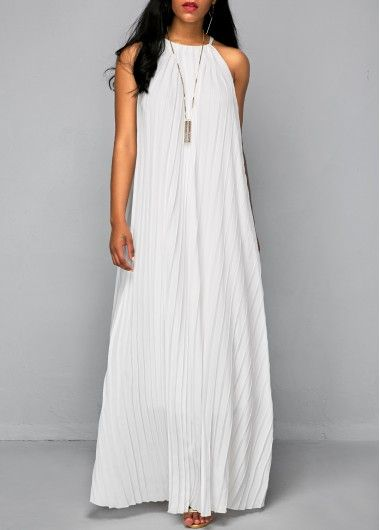 Solid All White Pleated Sleeveless Maxi Dress for Women, cheap price and faster shipping, don't miss at rosewe.com.