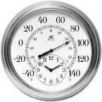 Prague 16 in. W x 16 in. L Round Outdoor Wall Clock, Silver