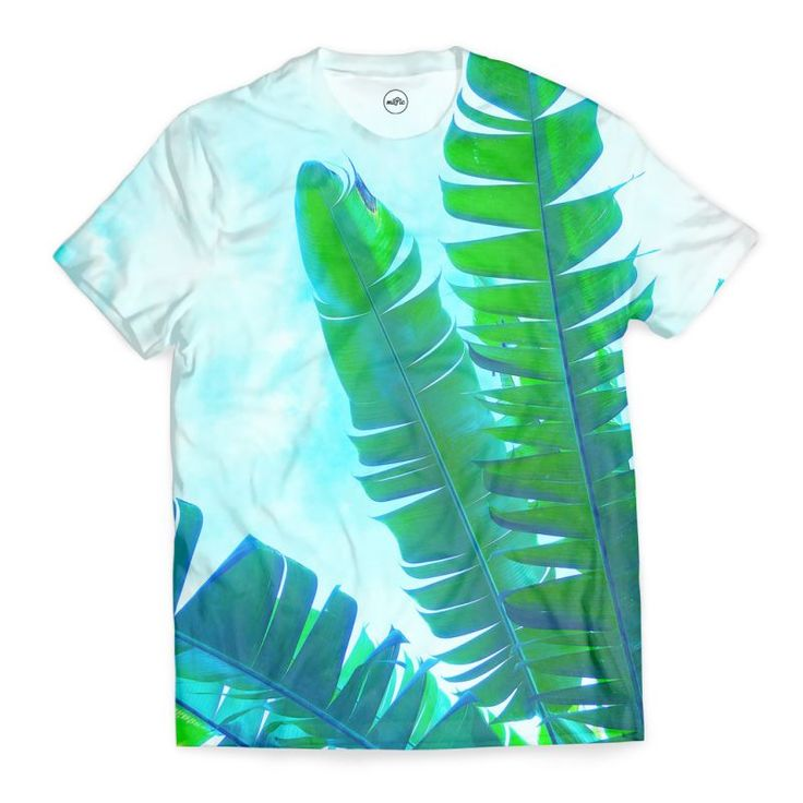 Vibrant Banana Leaves All Over T-shirt by Dominique Vari  | miPic | Beautiful tropical banana leaves captured in Bali – Enhanced with vibrant green & blue for a fresh summery look and feel on t-shirt / cool tee for the perfect outfit of the day. Spread the good vibes with this modern & elegant leafy jungle design #tshirt #tropical #tee #holidays #vibrant #summer #spring #dominiquevari