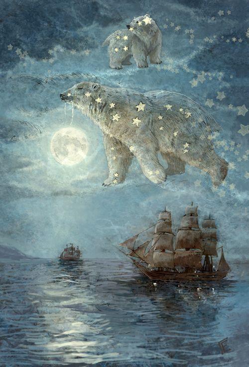 И всю ночь соседи, Звездные медведи, светят дальним кораблям...