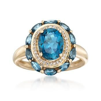 Ross-Simons - 3.10 ct. t.w. London Blue Topaz Ring With Diamond Accents in 14kt Yellow Gold - #866770