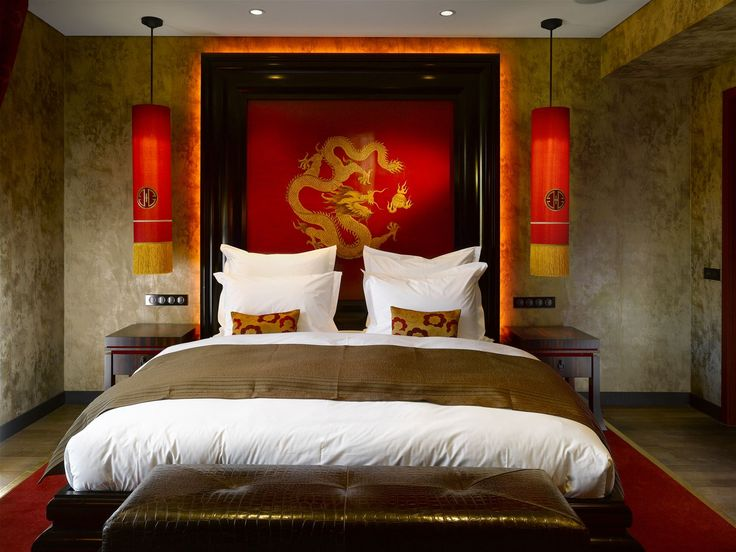 Buddha Bar Hotel Prague, Czech Republic. #oriental #lighting #design #red #interior #hotel #bed #room #lamp