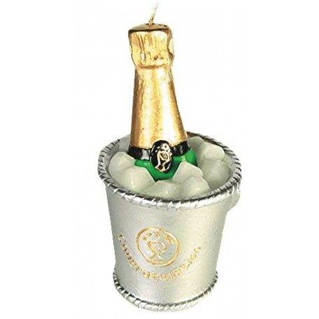 """Bougie """"Soir de Fête"""", en forme de seau à champagne avec bouteille et glaçons."""