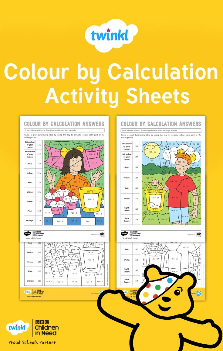 Ks2 Bbc Children In Need Colour By Calculation Maths Differentiated Activity Sheets Differentiation Activities Children In Need Activity Sheets