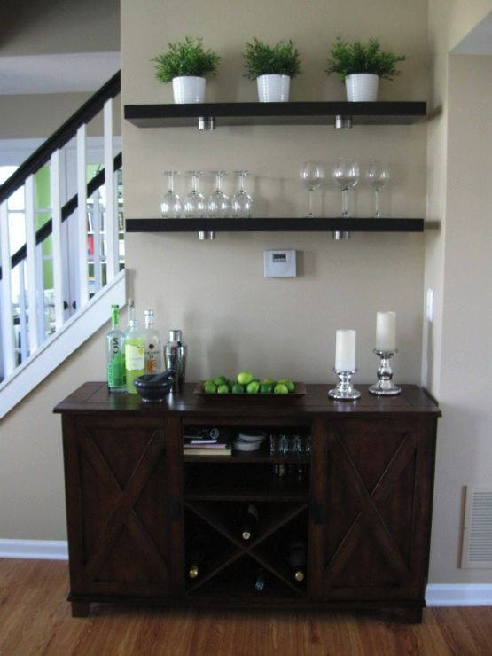 Mini Bar Idea In Kitchen With Open Shelving Maybe On Wall By Staircase?
