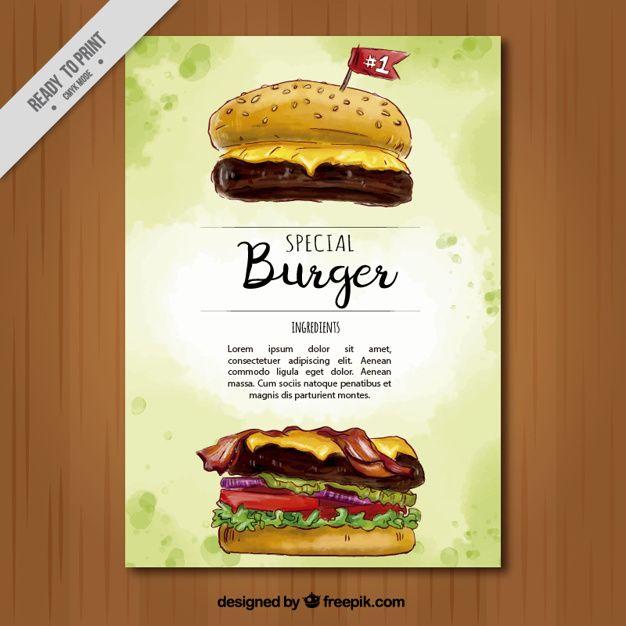Folheto da aguarela de hambúrguer especial Vetor grátis