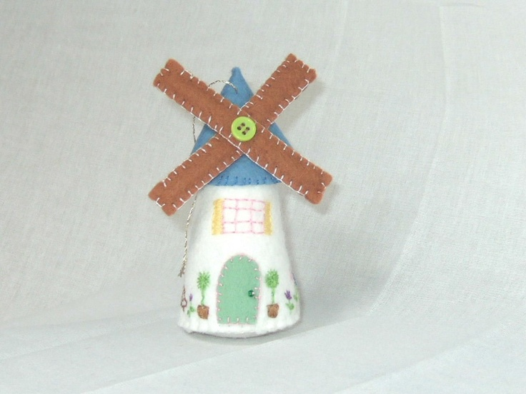 Sweet Little Windmill Felt Christmas Ornament. $12.00, via Etsy.