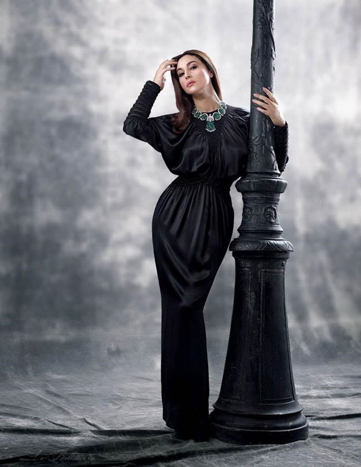 Monica Bellucci blows us away in a total black satin Fendi Spring/Summer 2016 maxi dress for Citizen K's latest cover story.