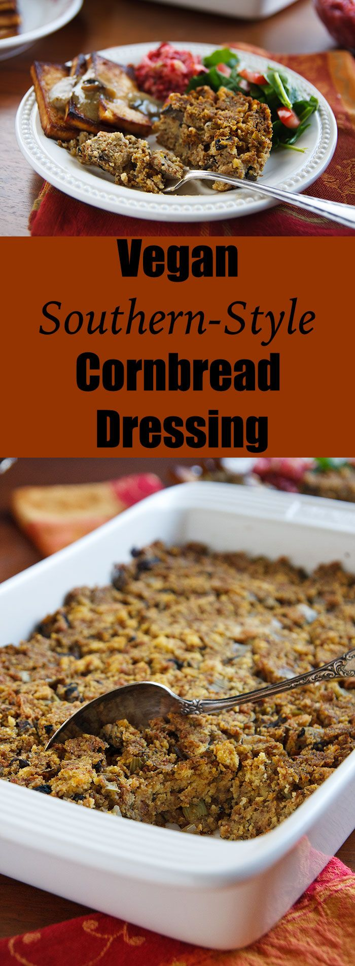 This dressing is just like your Southern mother used to make, except vegan and low-fat. Perfect for Thanksgiving!