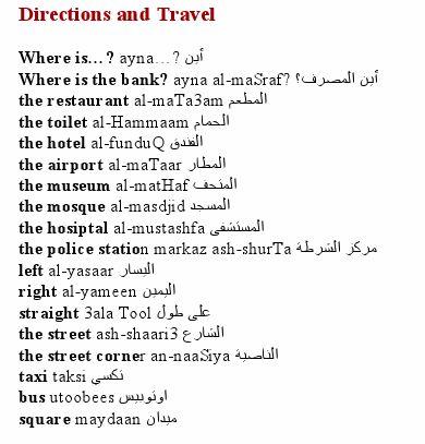 Arabic Directions & Travel