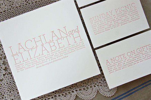warna soft pink untuk kartu undangan pernikahan letterpress yang lembut banget