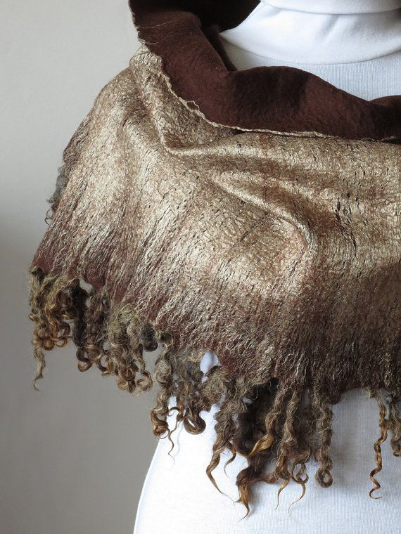 Shepherdess, chocolate color wet felted woolen wrap with fleece locks, snugly and warm hand felted shawl, made-to-order