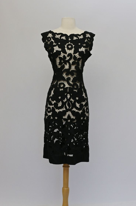 Black dress design - Vintage 1950s Black Lace Wiggle Dress Vintage 50s Venetian Lace Sheer Black Cocktail Dress