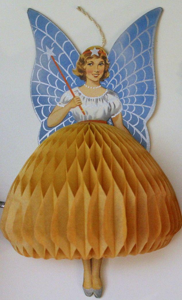 vintage paper honeycomb Christmas fairy angel