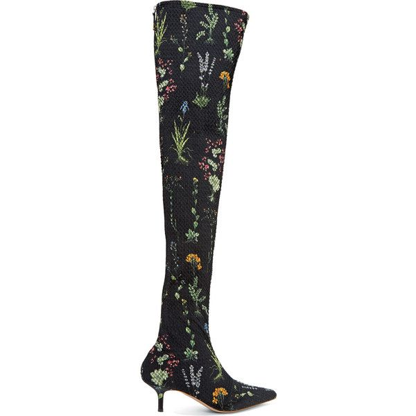 Altuzarra Elliot floral-print matelassé over-the-knee boots (€1.550) ❤ liked on Polyvore featuring shoes, boots, over the knee thigh high boots, floral boots, black thigh high boots, above the knee boots and black kitten heel boots