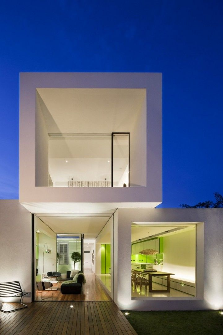 Facade Of Small Minimalist Home At Night House Pinterest