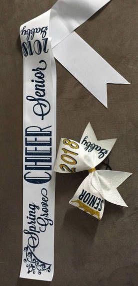 $14.99 Senior Bow and add a Sash! Senior cheerleaders, senior cheer banquet gifts, cheer coaching, cheer practice #cheerleading #ad
