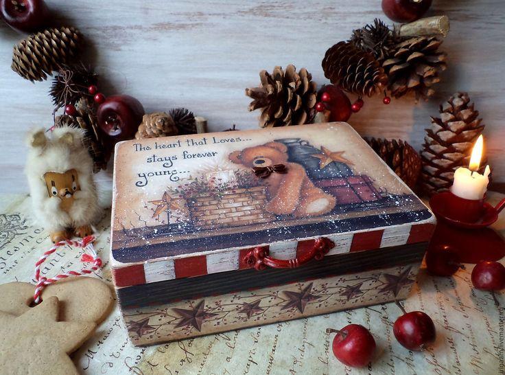 """Купить """"Christmas Teddy Bear"""" новогодняя коробочка-шкатулка - новый год 2016, новый год декупаж"""