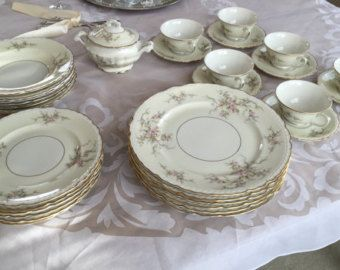 Arcadian Old Rose Cream Gold Lavender Fine China Dinnerware Set 6 Six Place Setting Dinner Service Wedding Gift