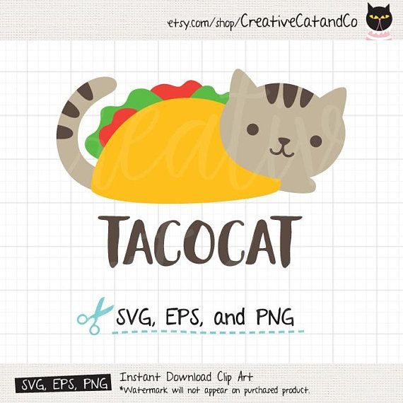 Tacocat Svg Dxf Taco Cat Cute Funny Cat Svg Dxf Files For Etsy In 2020 Taco Cat Cricut Printable Stickers